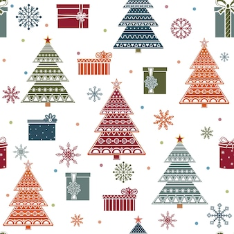 Weihnachtsmuster mit weihnachtsbäumen und geschenken, farbvektorillustration.