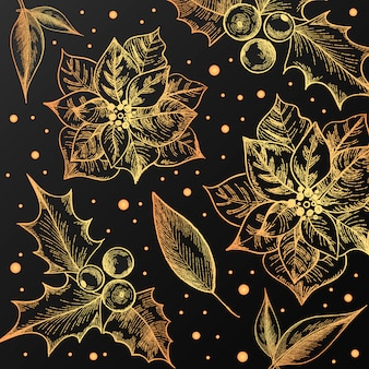 Weihnachtsmuster mit weinleseblumen
