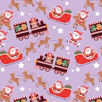 Weihnachtsmuster nahtlos mit schlitten und zug und weihnachtscharakter
