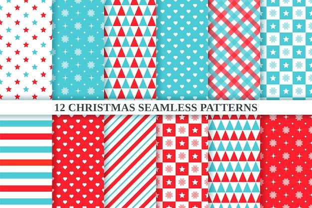 Weihnachtsmuster. . nahtlose textur des feiertags. weihnachten, geometrischer hintergrund des neuen jahres. stellen sie festlichen textildruck mit stern, schneeflocke, dreieck, tupfen, herz, kariert ein. rotgrüne illustration