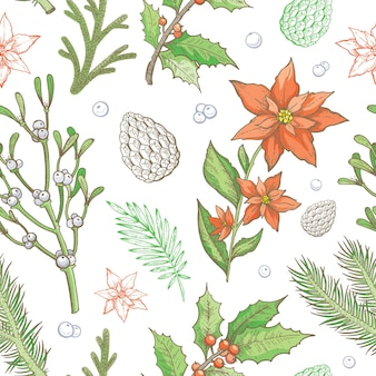 Weihnachtsmuster. nahtloser hintergrund der winterpflanze. vintage urlaub blumentapete.