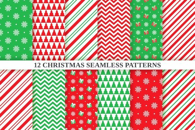 Weihnachtsmuster. nahtloser hintergrund. feiertags-weihnachten, festliche beschaffenheit des neuen jahres. abstrakter, geometrischer textildruck mit zickzack, schneeflocke, tupfen, zuckerstangenstreifen.