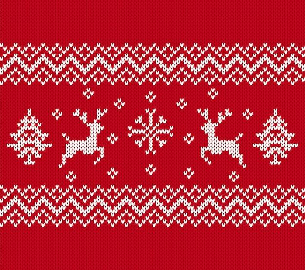 Weihnachtsmuster stricken. nahtlose textur mit rentieren, bäumen.