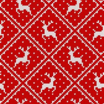 Weihnachtsmuster stricken. roter nahtloser druck. illustration.