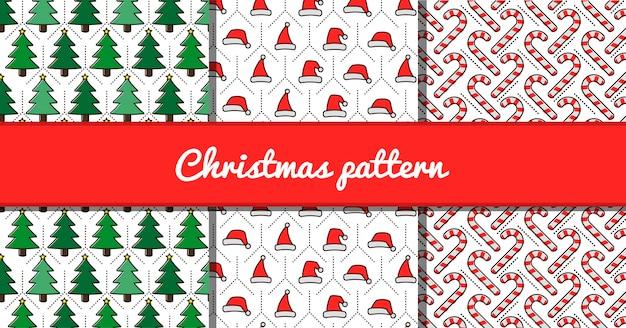 Weihnachtsmuster von bäumen, hüten und stöcken.