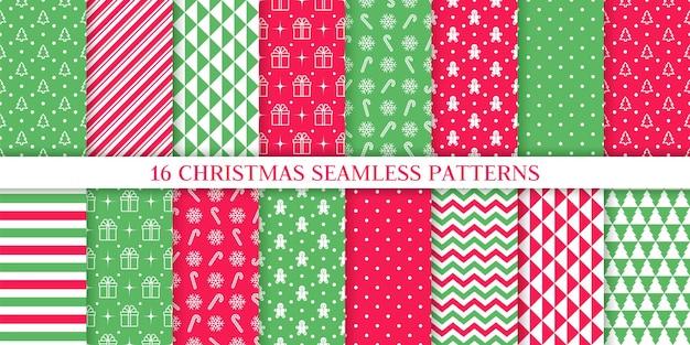 Weihnachtsmuster. weihnachten neujahr textur. nahtloser hintergrund des feiertags mit baum, zuckerstangenstreifen.
