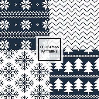 Weihnachtsmuster winterferien hintergründe set