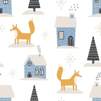 Weihnachtsmuster winterwald skandinavische hand gezeichnete nahtlose muster. neues jahr digitales papier