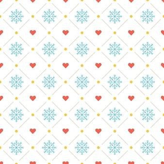 Weihnachtsmusterhintergrund für geschenkpapier, grußkarte und verpackungsdekoration. schneeflocken und herzikonen.