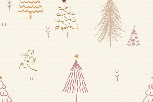 Weihnachtsmusterhintergrund, nettes wintergekritzel im cremefarbenen vektor