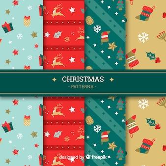 Weihnachtsmustersammlung in der flachen art