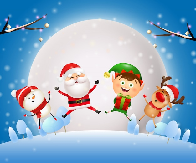Weihnachtsnacht banner mit santa, tiere auf blauem grund