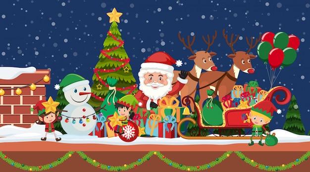 Weihnachtsnacht mit weihnachtsmann und rentieren
