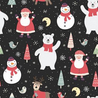 Weihnachtsnacht nahtlose muster mit niedlichen figuren