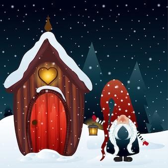 Weihnachtsnachtszene mit gnom und seinem magischen haus