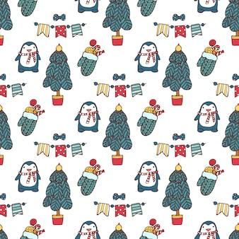 Weihnachtsnahtlose hand gezeichnetes muster