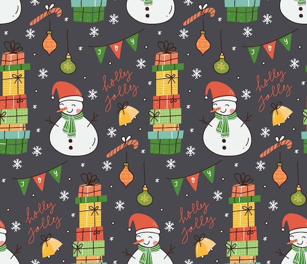 Weihnachtsnahtloser hintergrund in der gekritzelartillustration