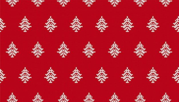 Weihnachtsnahtloser hintergrund mit bäumen. rotes muster stricken.