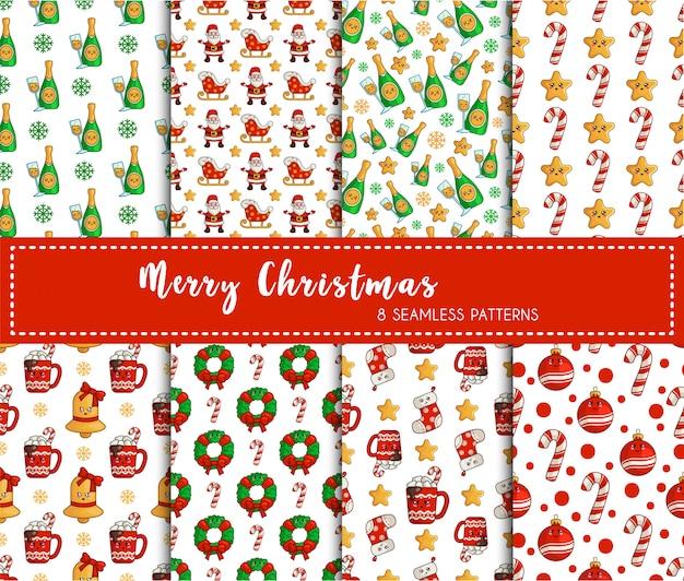 Weihnachtsnahtloser mustersatz, dekorationen des neuen jahres