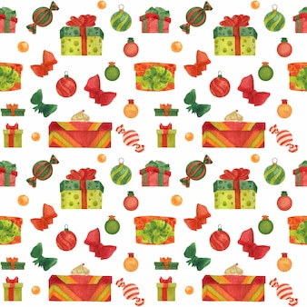 Weihnachtsnahtloses aquarellmuster mit bonbons und geschenkboxen auf einem weiß