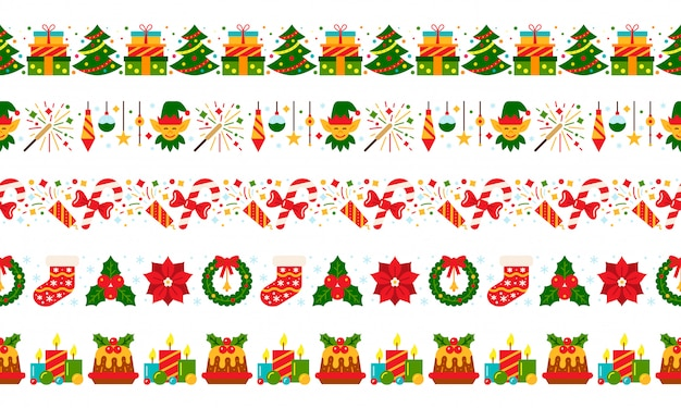 Weihnachtsnahtloses grenzrotes grünes flaches ikonenmuster des neuen jahres, streifenweihnachtsfahne, parteigirlande.