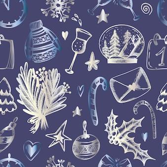 Weihnachtsnahtloses muster auf blauem hintergrund weihnachtsdruck in der hand zeichnen stil