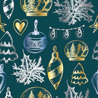 Weihnachtsnahtloses muster auf einem smaragdgrünen hintergrund weihnachtsdruck in der hand zeichnen stil