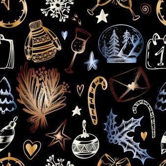 Weihnachtsnahtloses muster auf schwarzem hintergrund weihnachtsdruck in der hand zeichnen stil