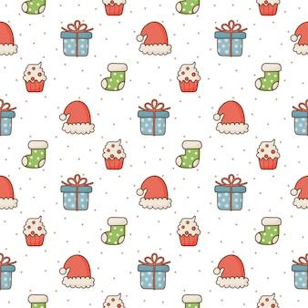 Weihnachtsnahtloses muster auf weißem hintergrund