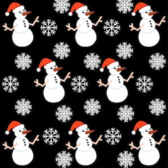 Weihnachtsnahtloses muster der weißen schneeflocke und des schneemanns mit rotem hut