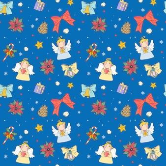 Weihnachtsnahtloses muster, entzückende feiertagssymbolsammlung über blauem hintergrund