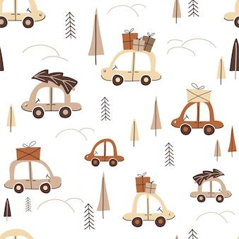 Weihnachtsnahtloses muster mit autos mit geschenken und tannen im wald