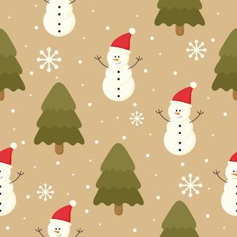 Weihnachtsnahtloses muster mit dem schneemann getrennt auf braunem hintergrund.