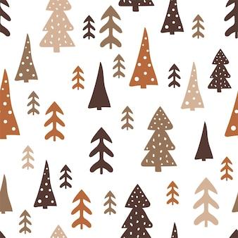 Weihnachtsnahtloses muster mit einem baum, einer kiefer, einer festlichen atmosphäre, einem zauberwald.