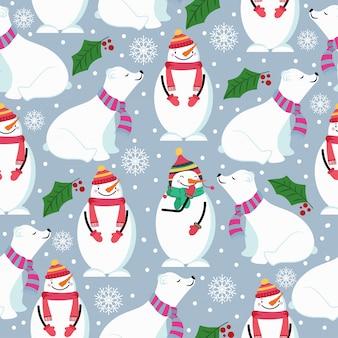 Weihnachtsnahtloses muster mit eisbären, schneemann