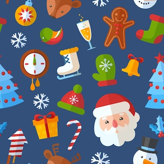 Weihnachtsnahtloses muster mit flacher sankt, rotwild, lebkuchenplätzchen
