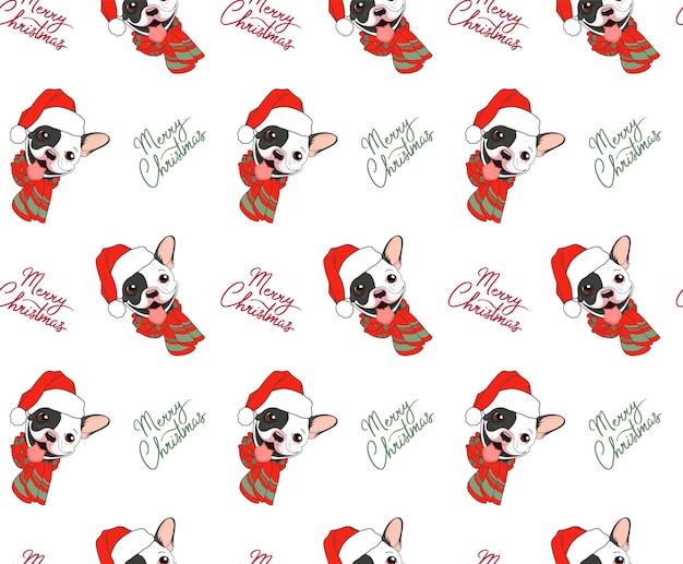 Weihnachtsnahtloses muster mit französischer bulldogge und schriftzug