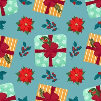Weihnachtsnahtloses muster mit geschenkbox und pflanzen vektor isolierte illustration