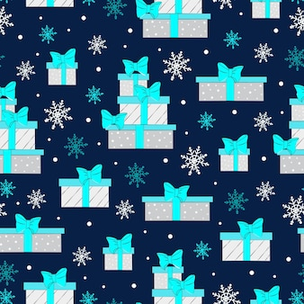 Weihnachtsnahtloses muster mit geschenkboxen farbige geschenkboxen mit üppigem bogenvektor