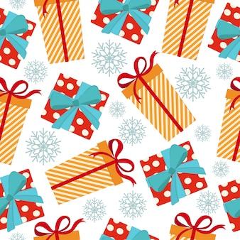 Weihnachtsnahtloses muster mit geschenkboxen