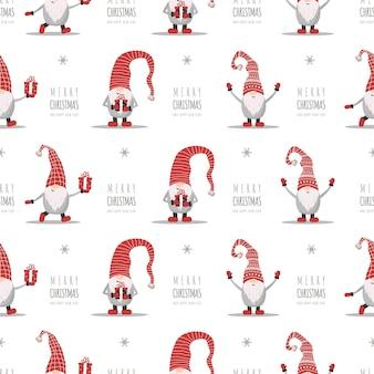 Weihnachtsnahtloses muster mit gnomen in roten hüten. süße skandinavische elfen.