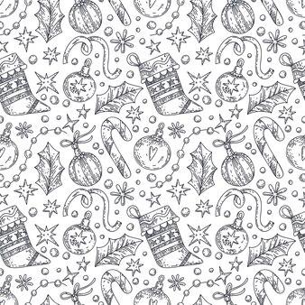 Weihnachtsnahtloses muster mit grafischen elementengeschenkdekor-schneeflockensternen