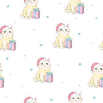 Weihnachtsnahtloses muster mit grauer katze mit weihnachtsmann-hut