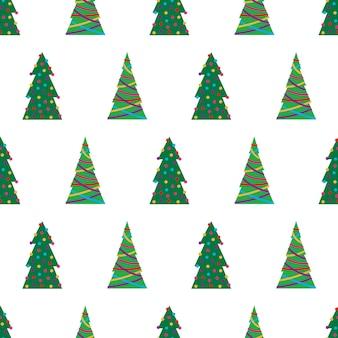 Weihnachtsnahtloses muster mit grünen weihnachtsbäumen mit bunten spielsachen, bällen und girlanden. vektor-illustration