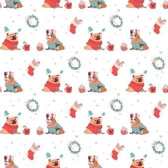 Weihnachtsnahtloses muster mit hunden und festlichen heißen getränken