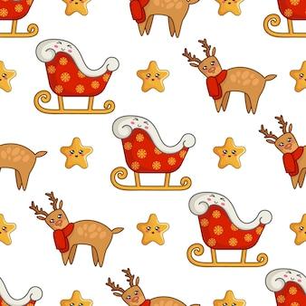 Weihnachtsnahtloses muster mit kawaii ren im blauen schal, in den netten sternen und im sankt-pferdeschlitten