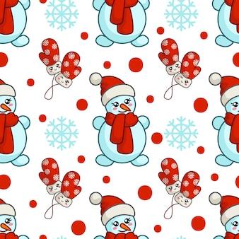Weihnachtsnahtloses muster mit kawaii schneemann in sankt-hut, handschuhe, schneeflocken