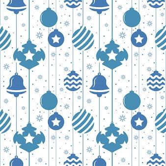 Weihnachtsnahtloses muster mit kugeln in der blauen farbe
