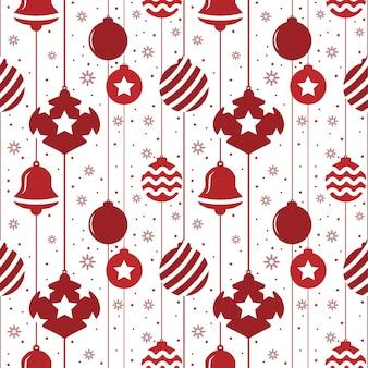 Weihnachtsnahtloses muster mit kugeln in der roten farbe