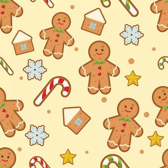 Weihnachtsnahtloses muster mit lebkuchenmännern